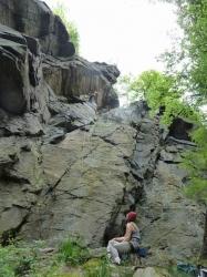 Klettern an der Dachwand